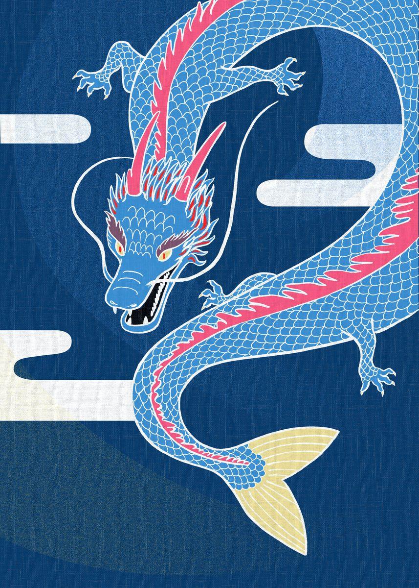 Blue Japanese dragon