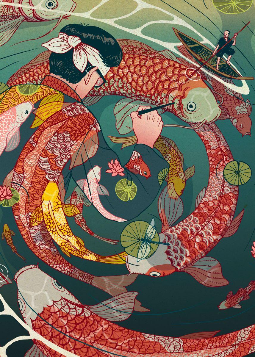 Colorful koi fish swimming in circle