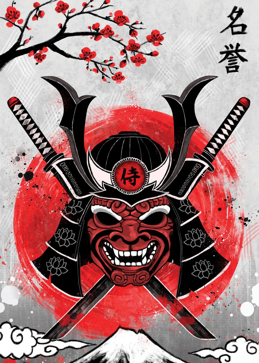 Samurai's helmet and war mask against two crossed swords