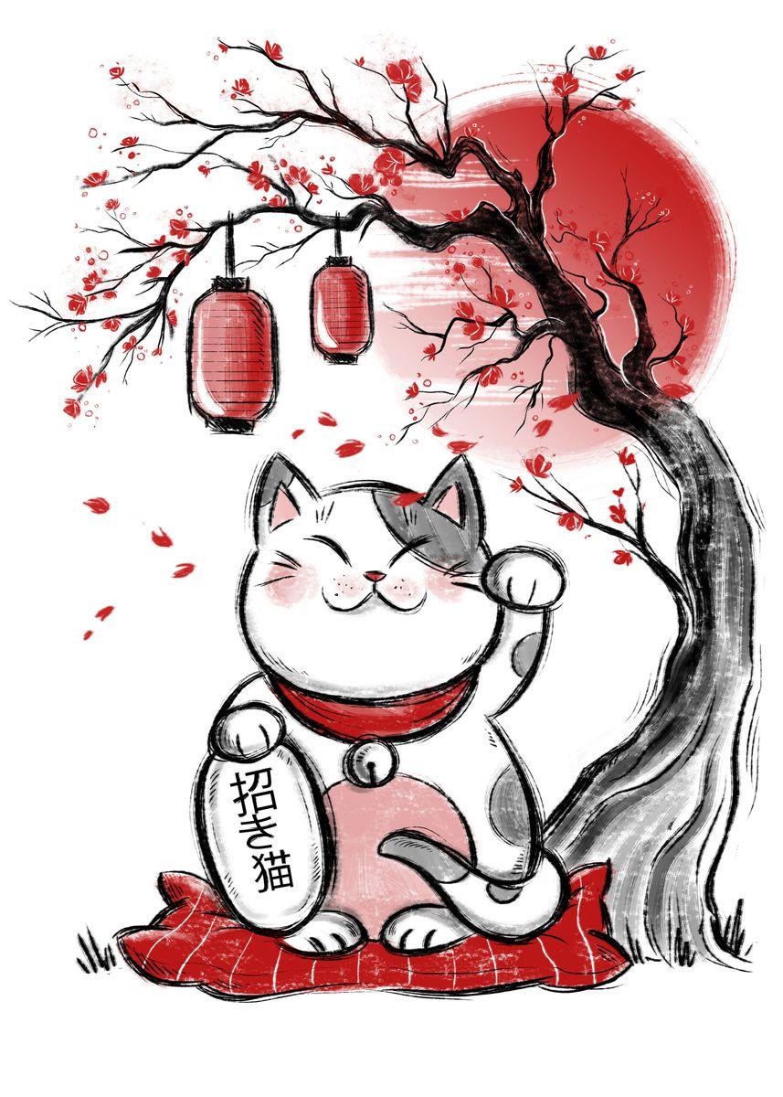 White Maneki Neko cat under cherry tree