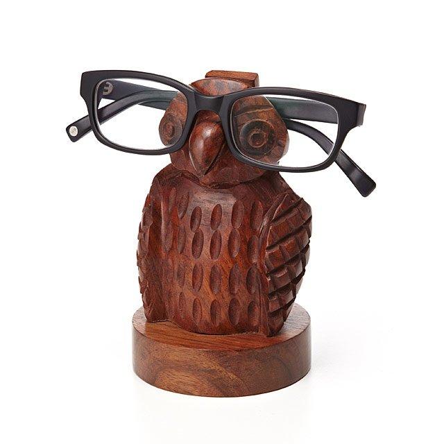 Wooden owl eyeglasses holder
