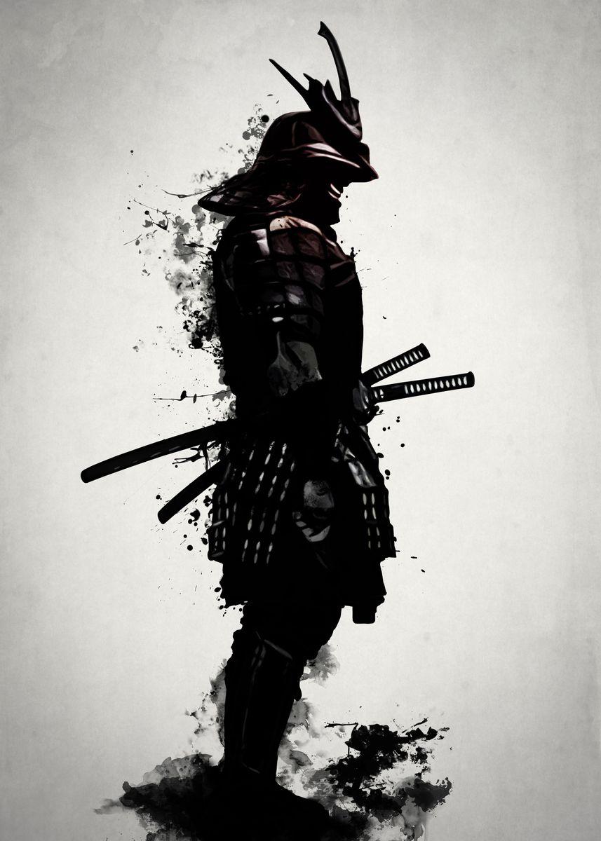 Silhouette of black Samurai warrior against white background