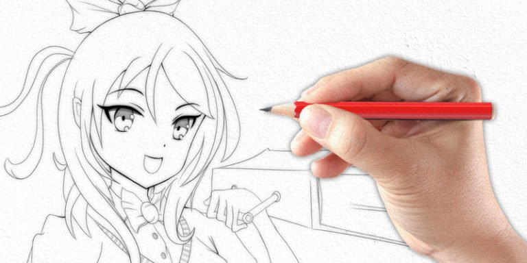 pencil drawing of female anime character