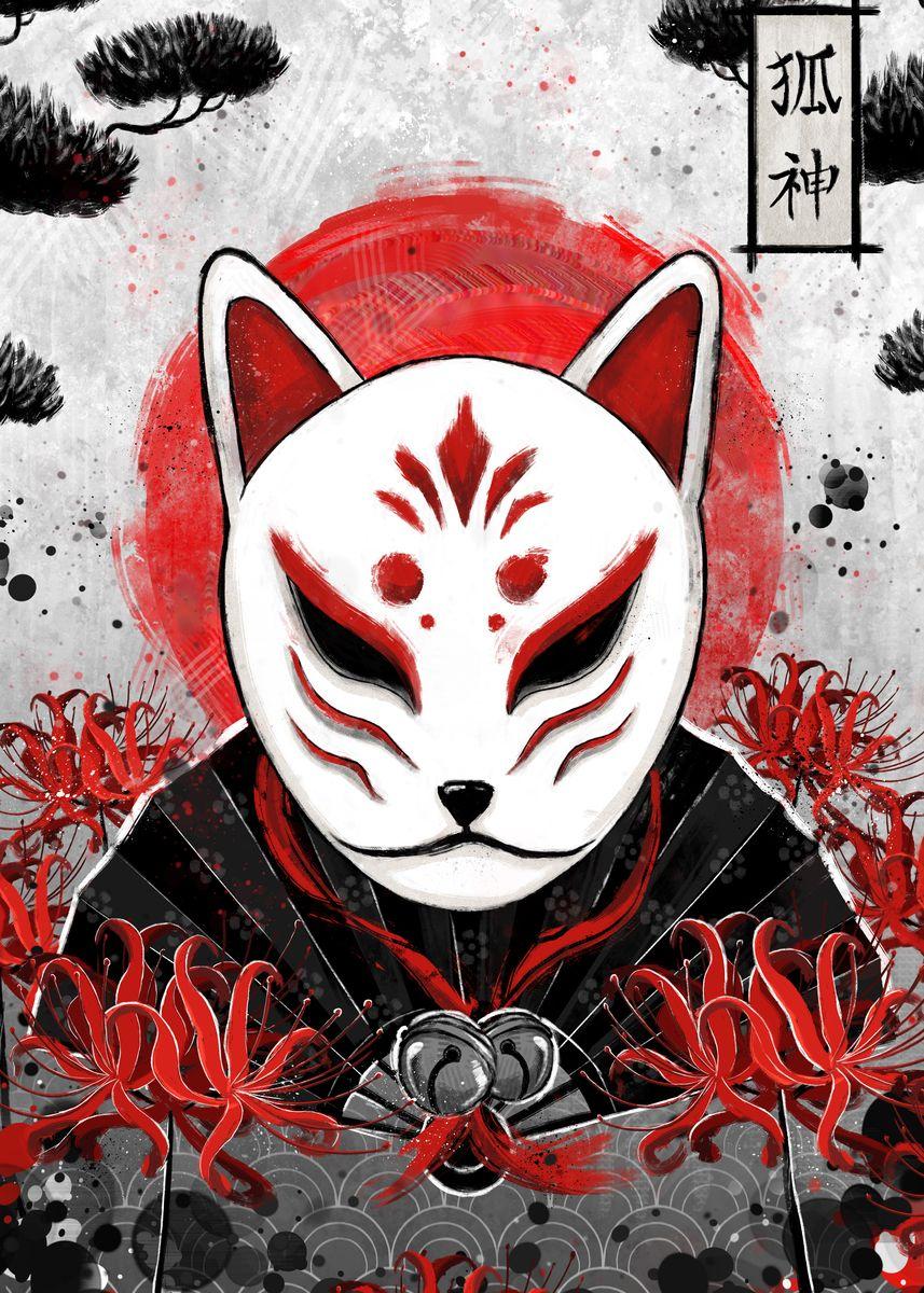 Red and white Kitsune fox mask