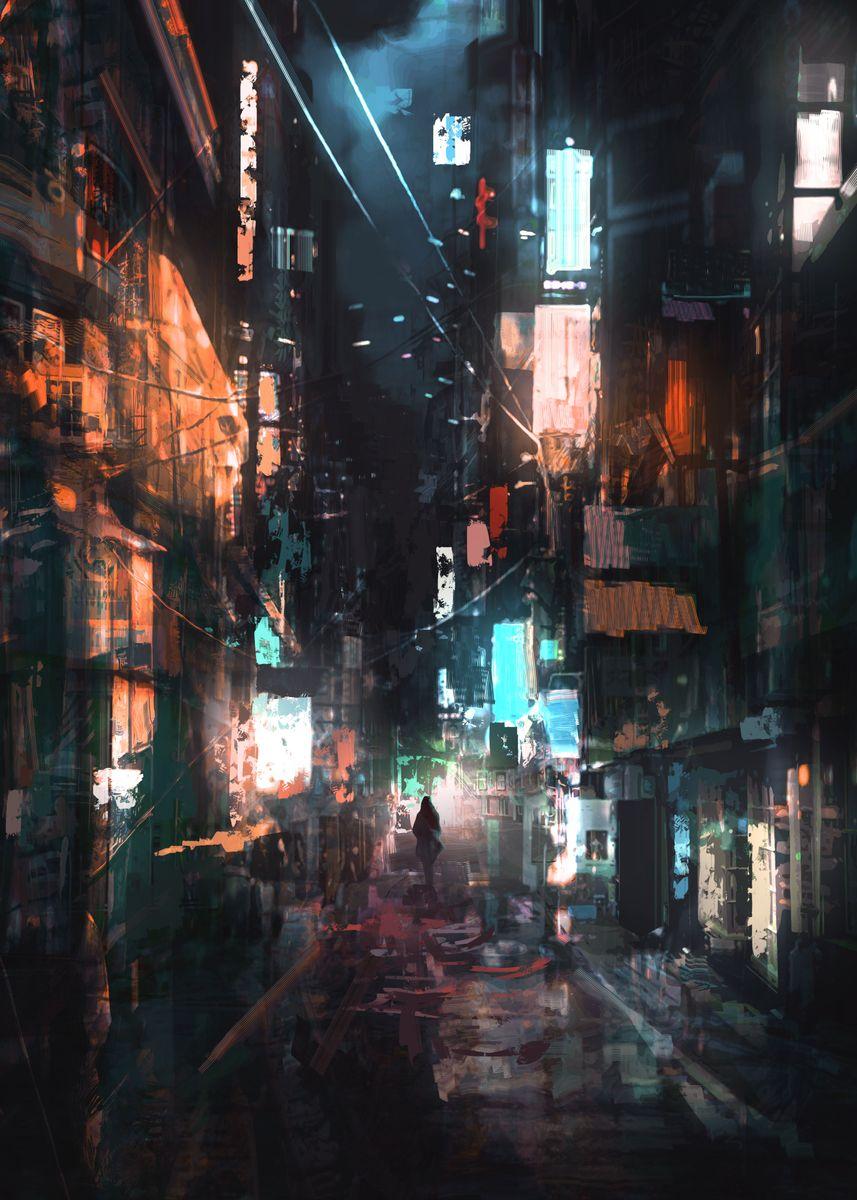Neon-lit street at night