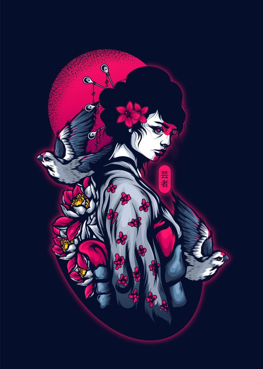 Geisha in floral kimono with hair ornaments
