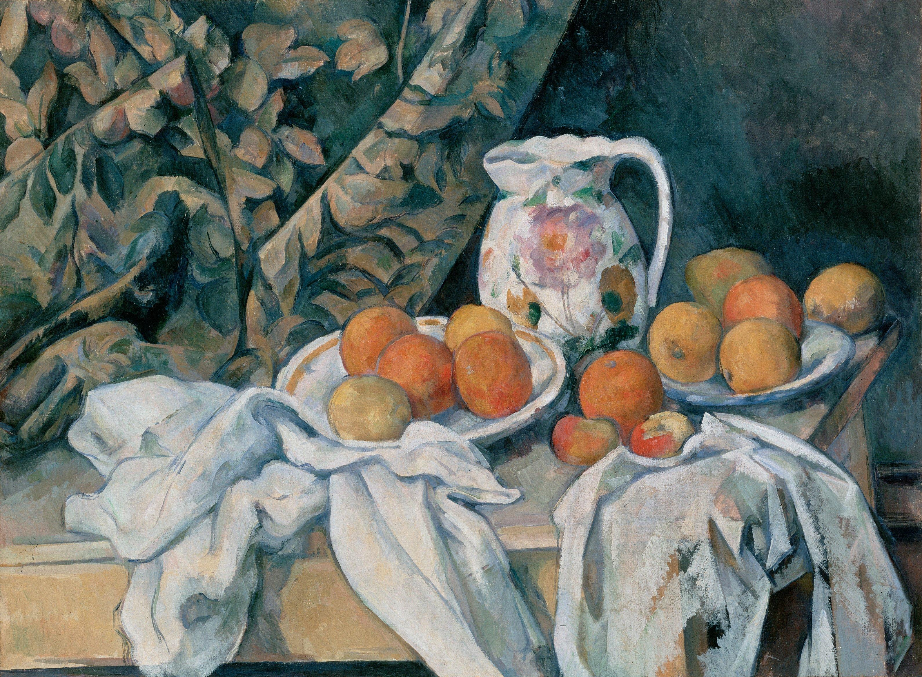 Still Life with a Curtain by Paul Cézanne