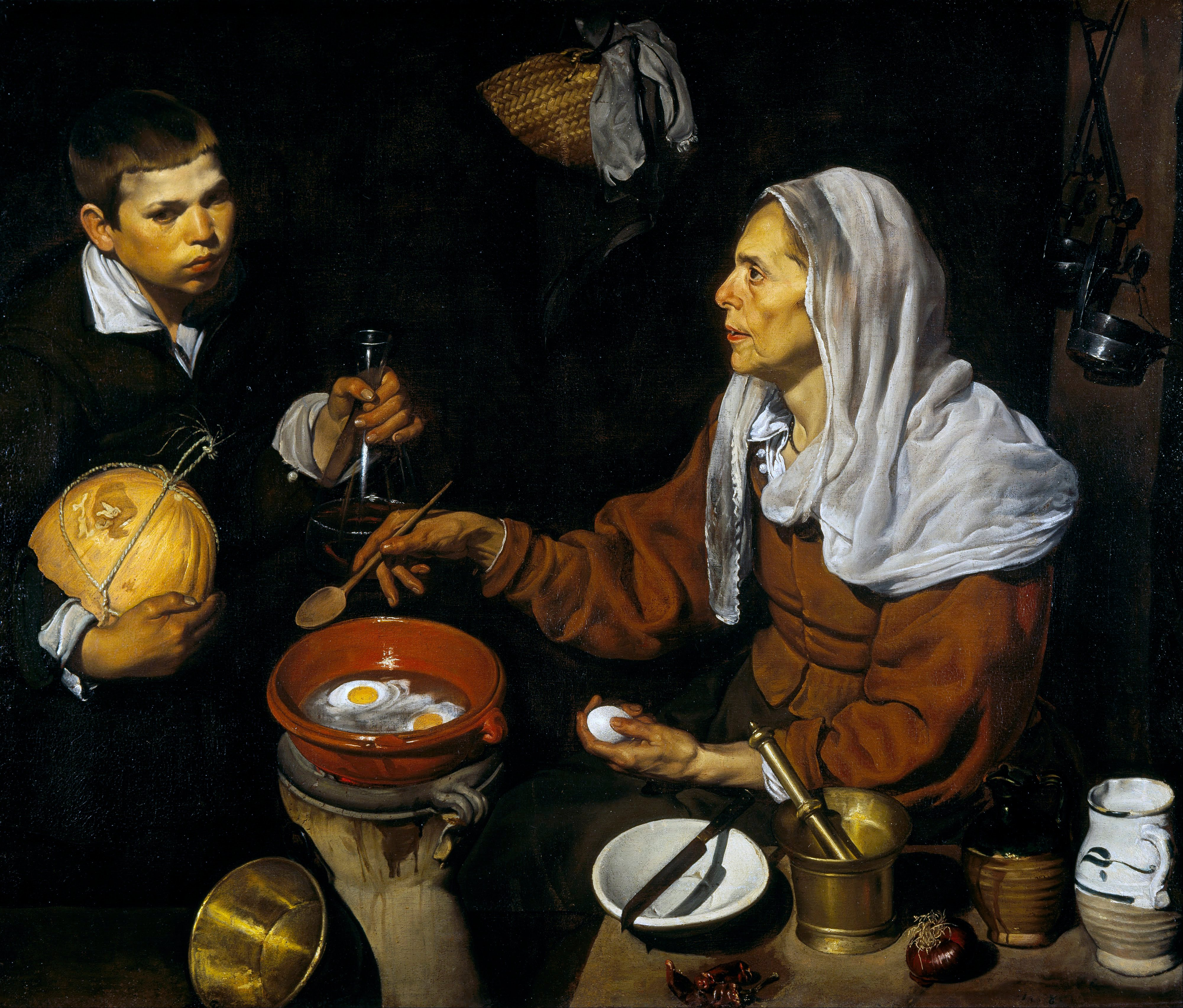 Old Woman Frying Eggs painting by Diego Velázquez