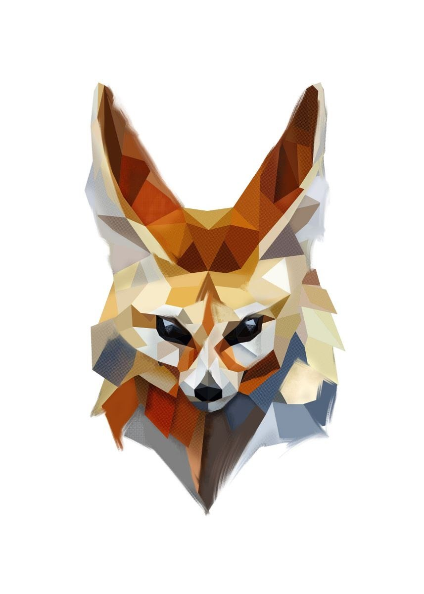 Low poly fennec poster