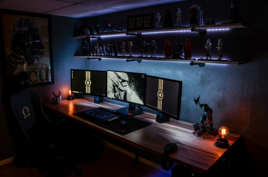 LED-lit Star Wars gaming setup