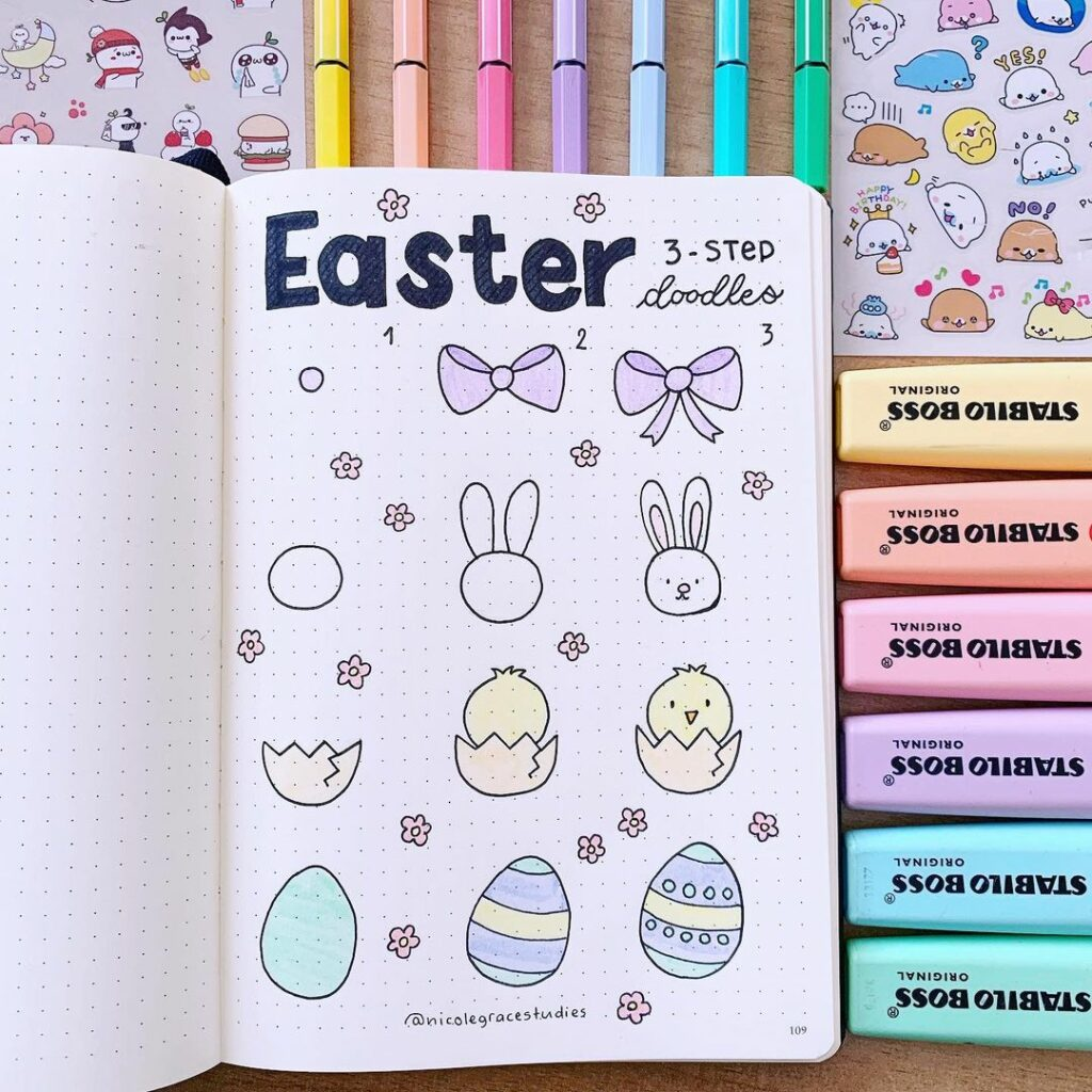 how to draw cute Easter doodles