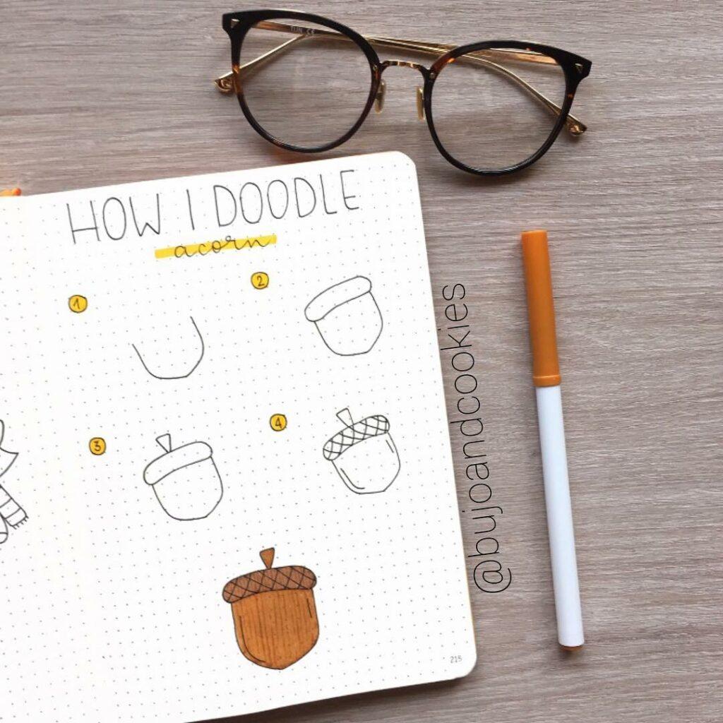 step-by-step acorn doodles