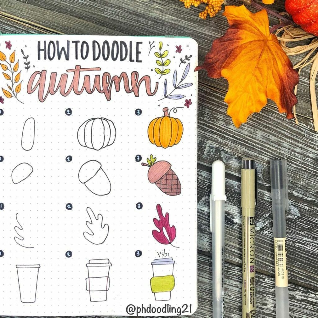 step-by-step autumn doodles