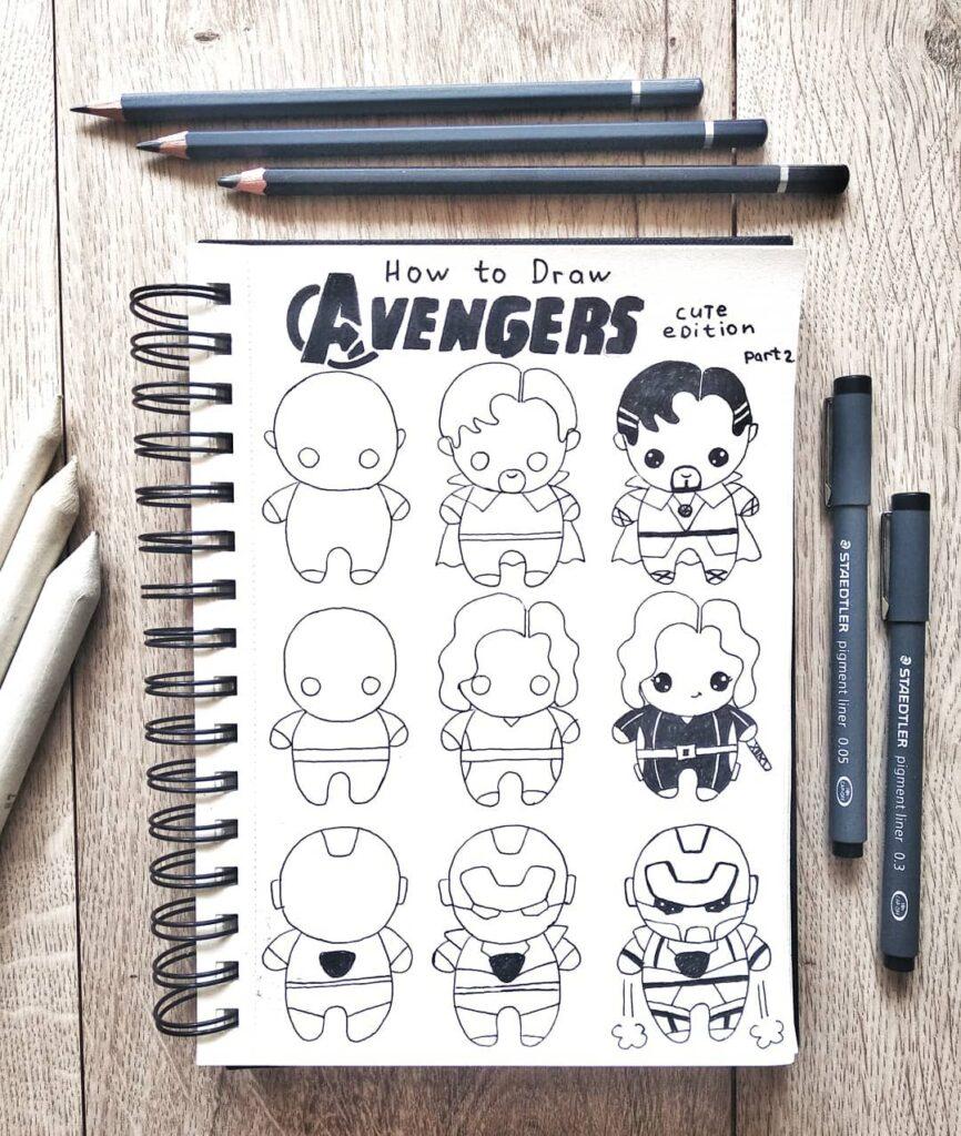 step-by-step Avenger doodles