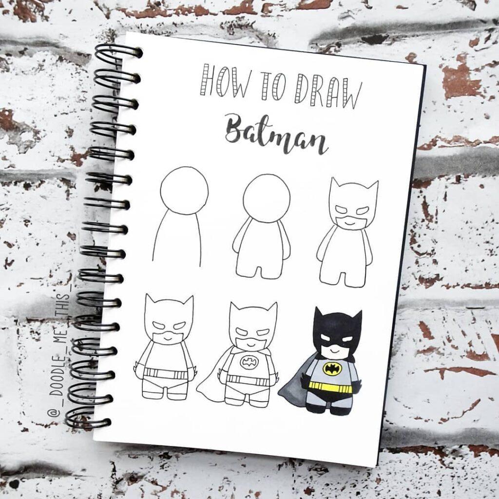 step-by-step Batman doodles