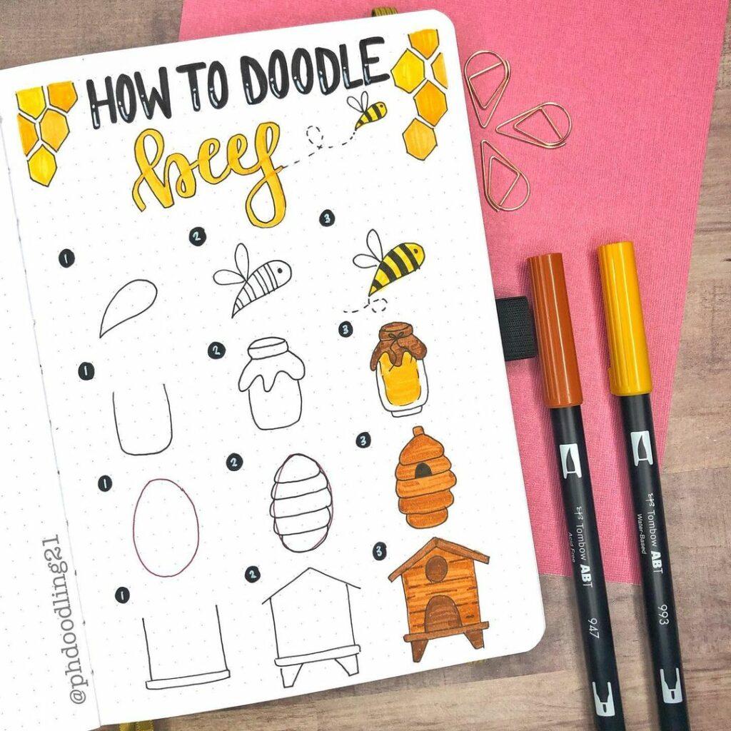 step-by-step bee doodles