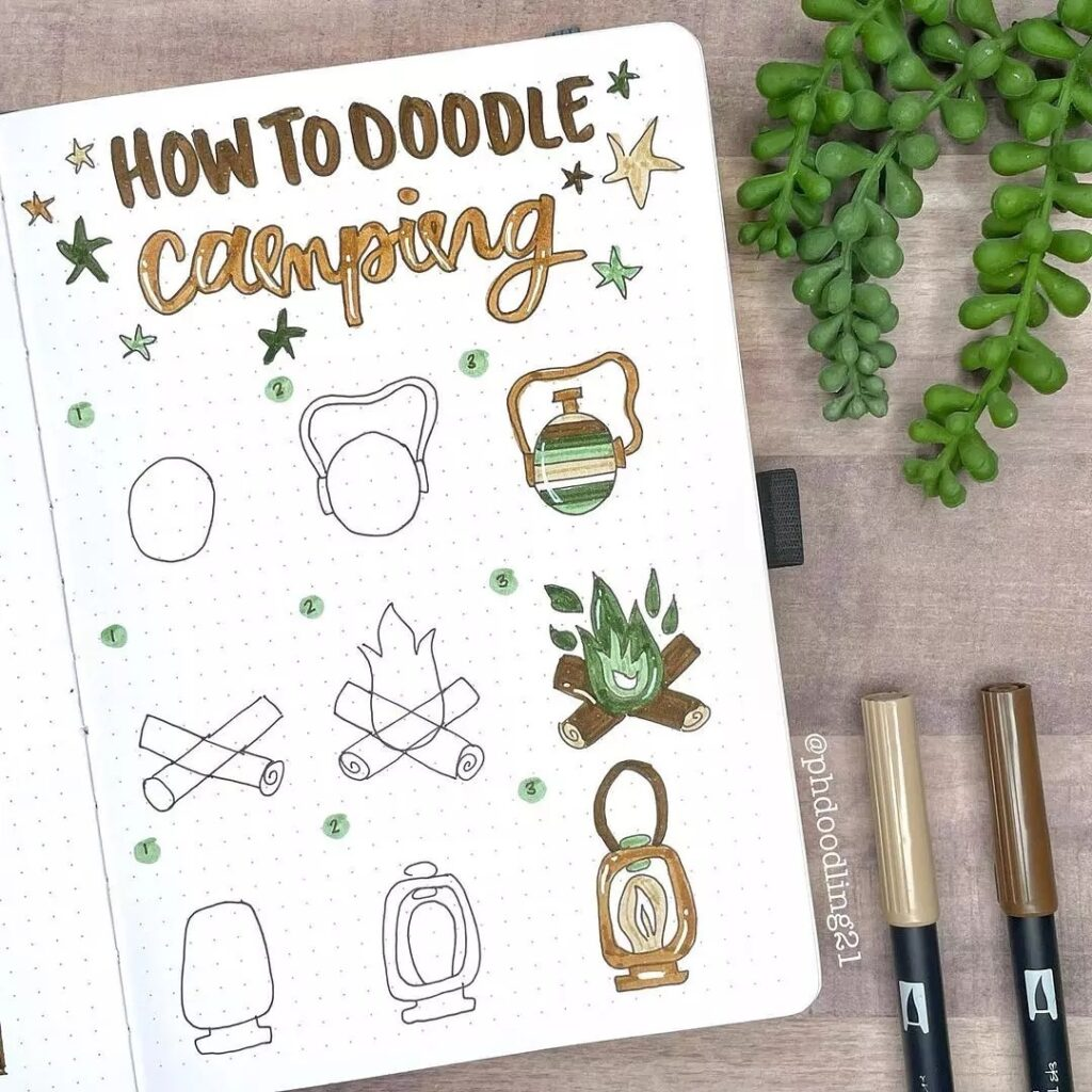 step-by-step camping doodles