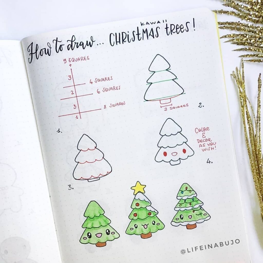 step-by-step Christmas tree doodles