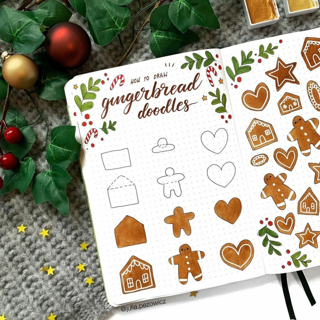 step-by-step gingerbread doodles