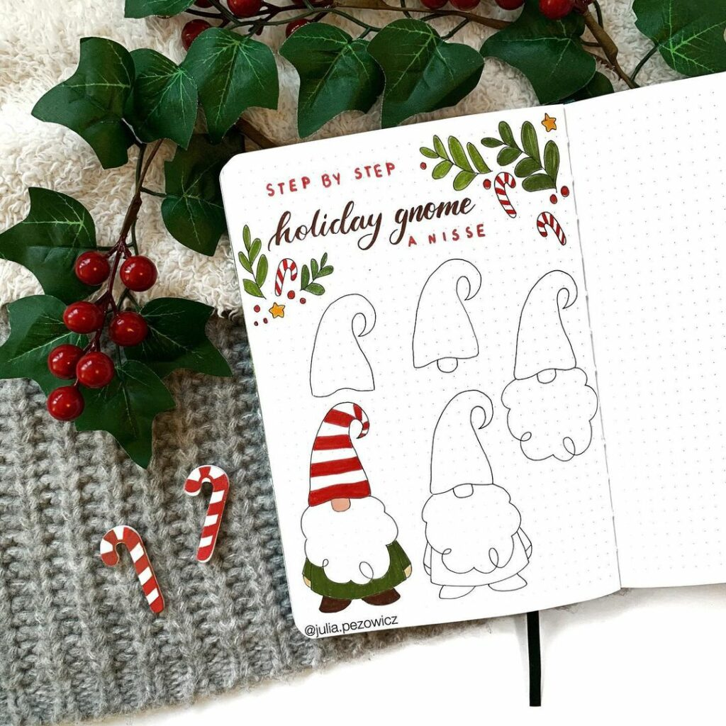 step-by-step holiday gnome doodles