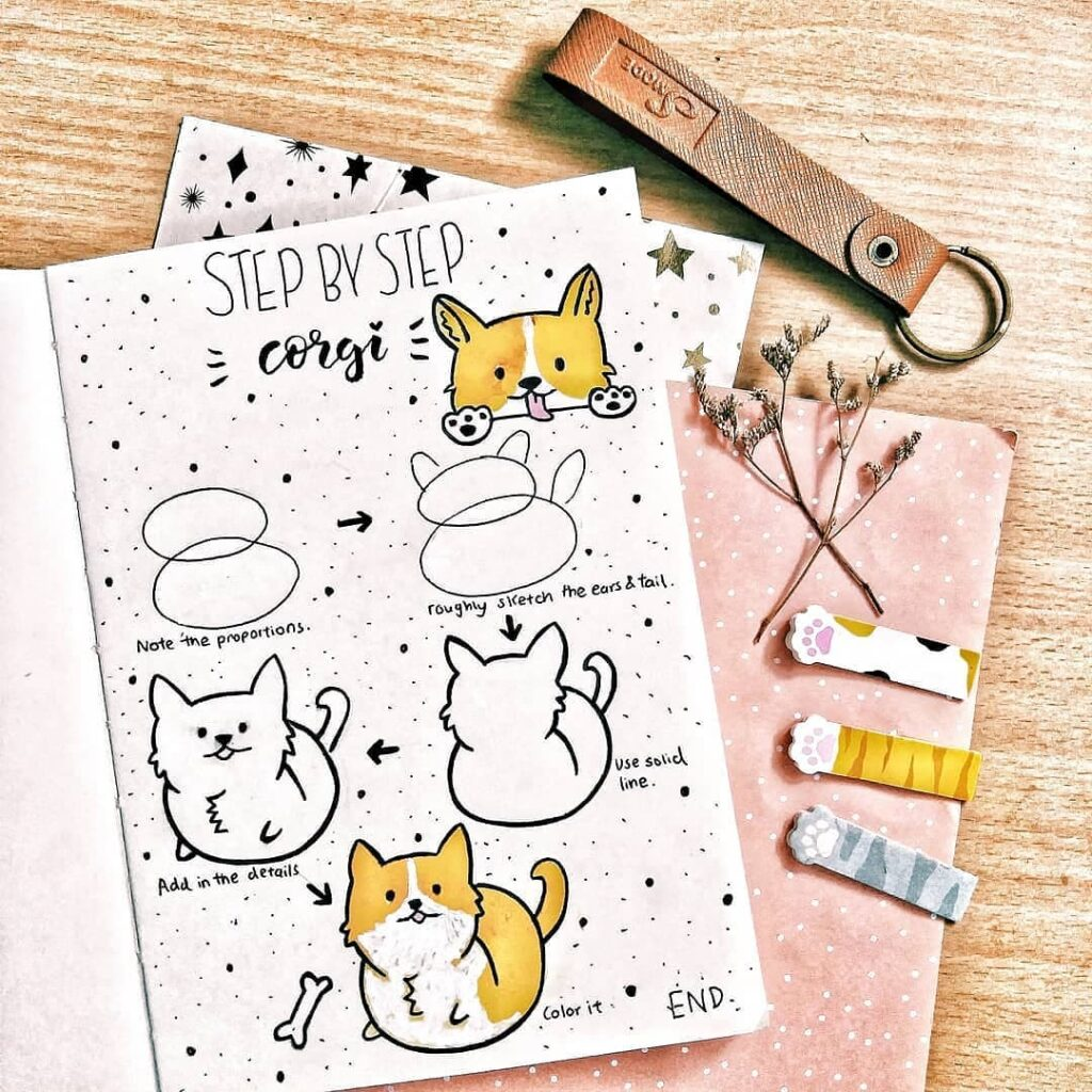 step-by-step corgi doodles