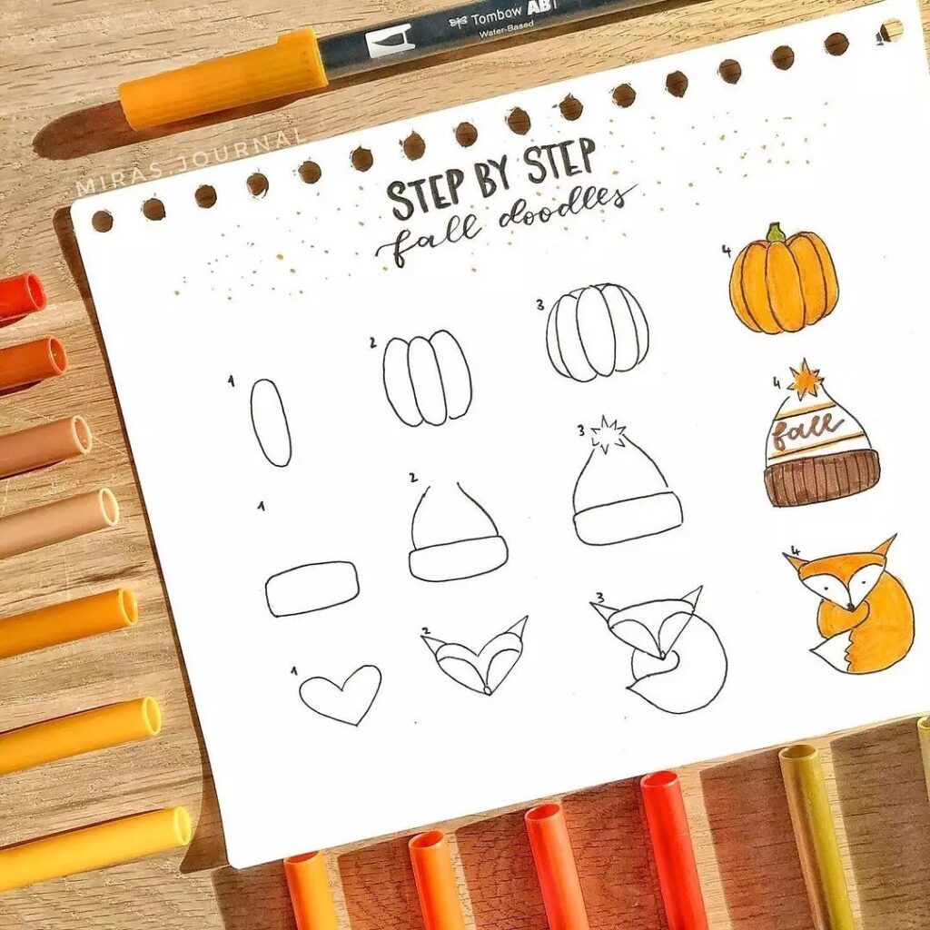 step-by-step fall doodles
