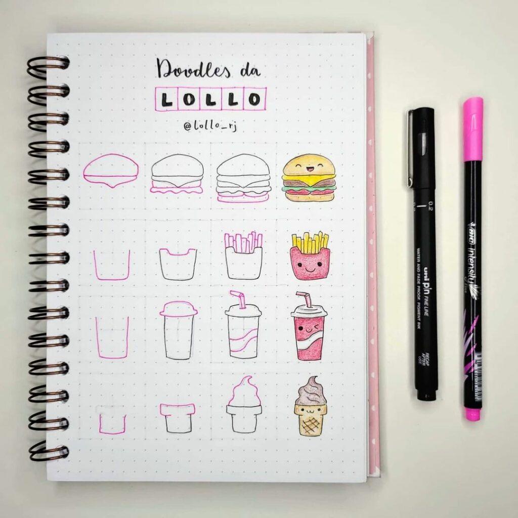step-by-step fast food doodles