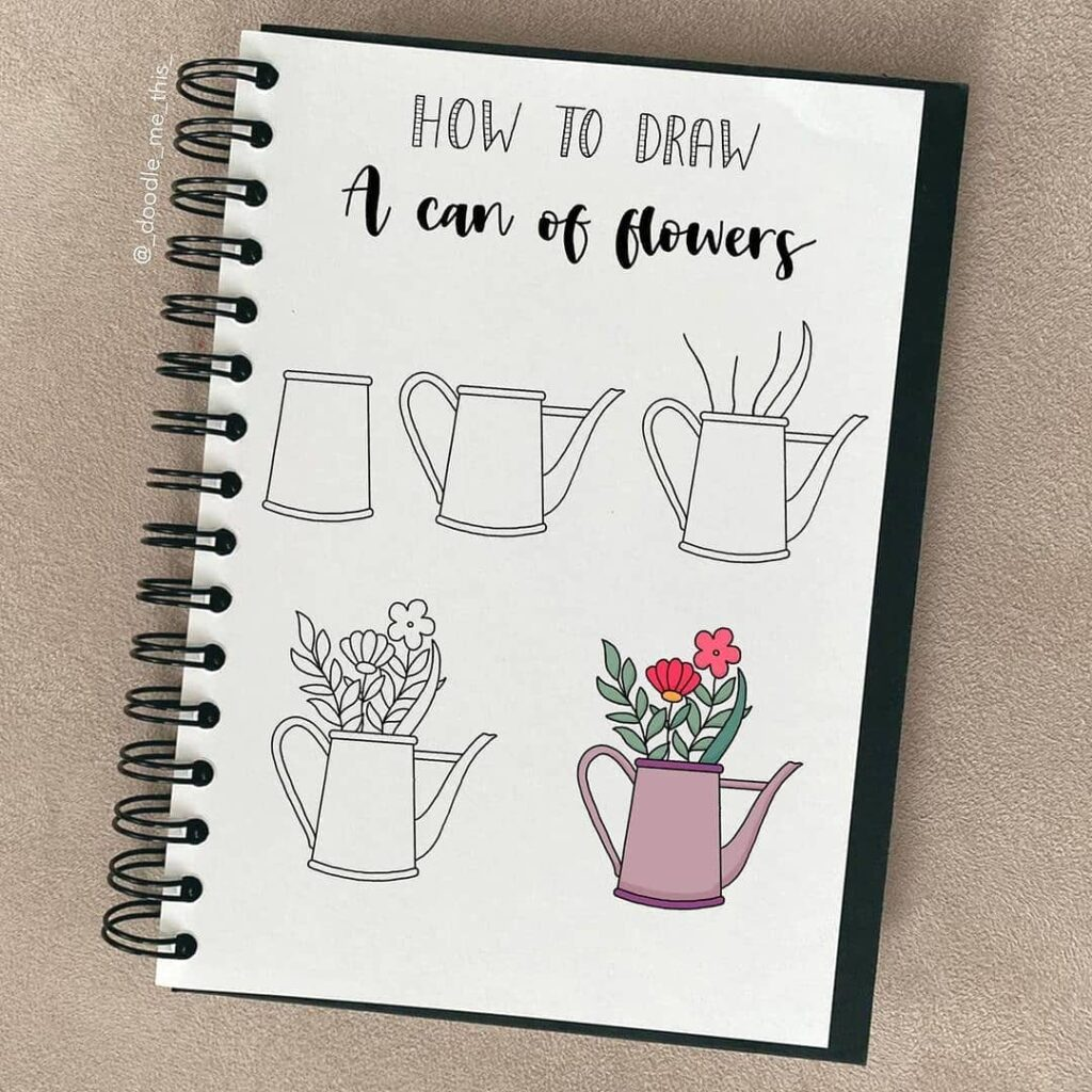 step-by-step flower can doodles