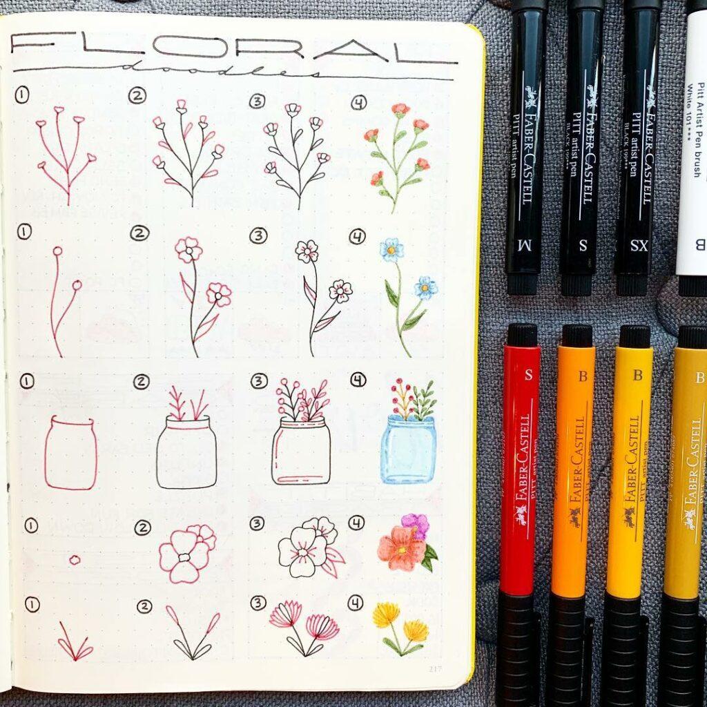 step-by-step floral doodles