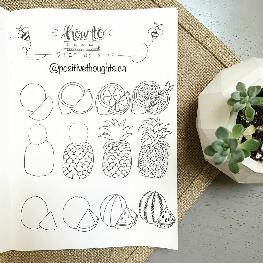 step-by-step fruit doodles