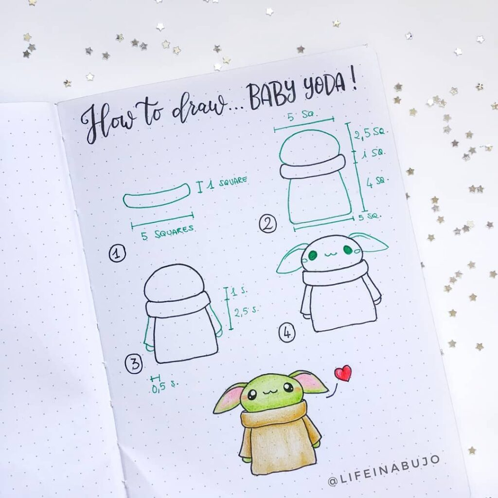 step-by-step Baby Yoda doodles