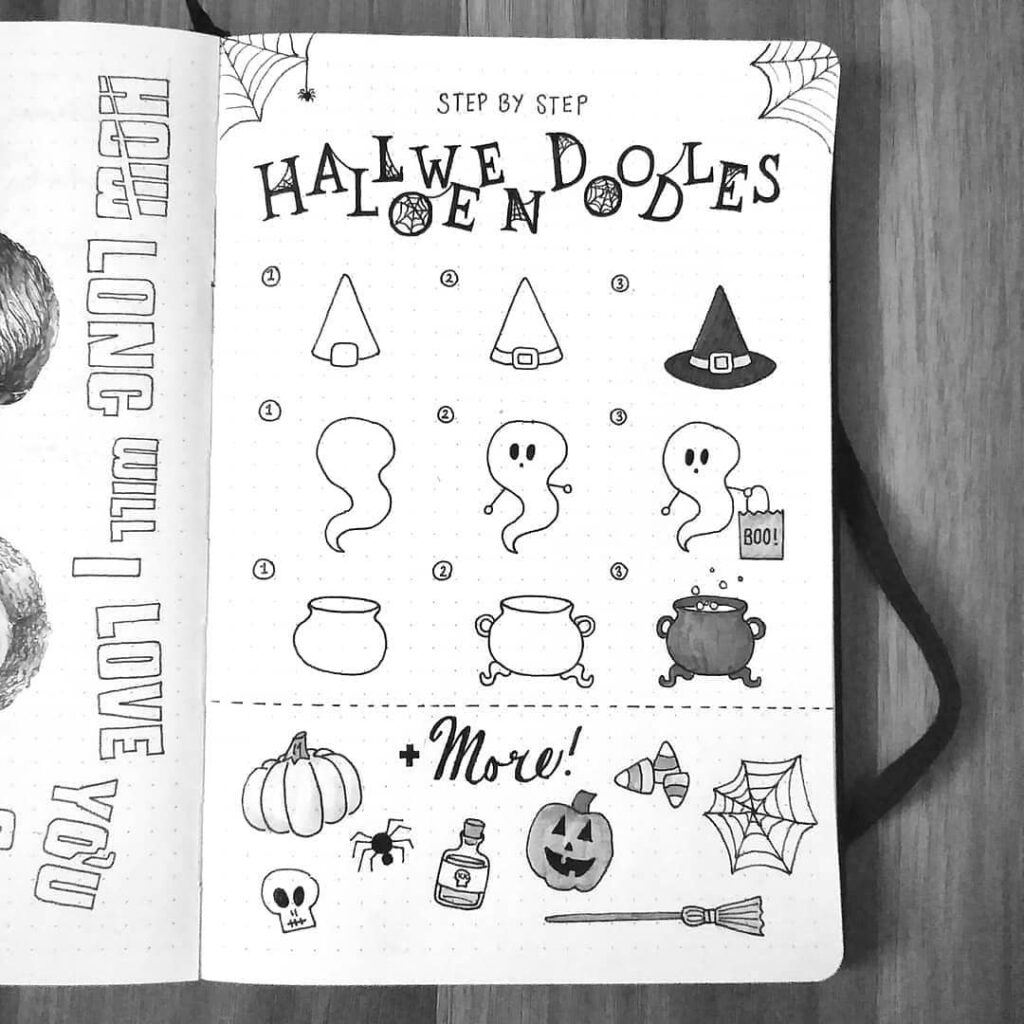 step-by-step Halloween doodles