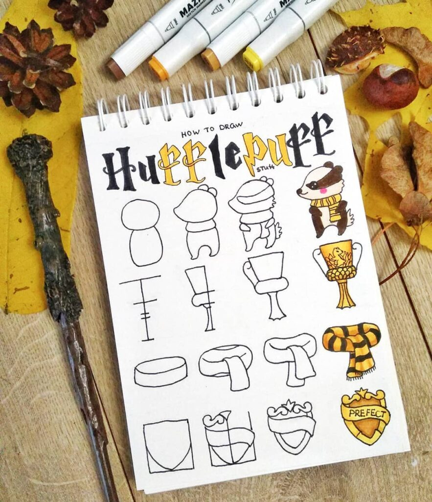 step-by-step Hufflepuff doodles