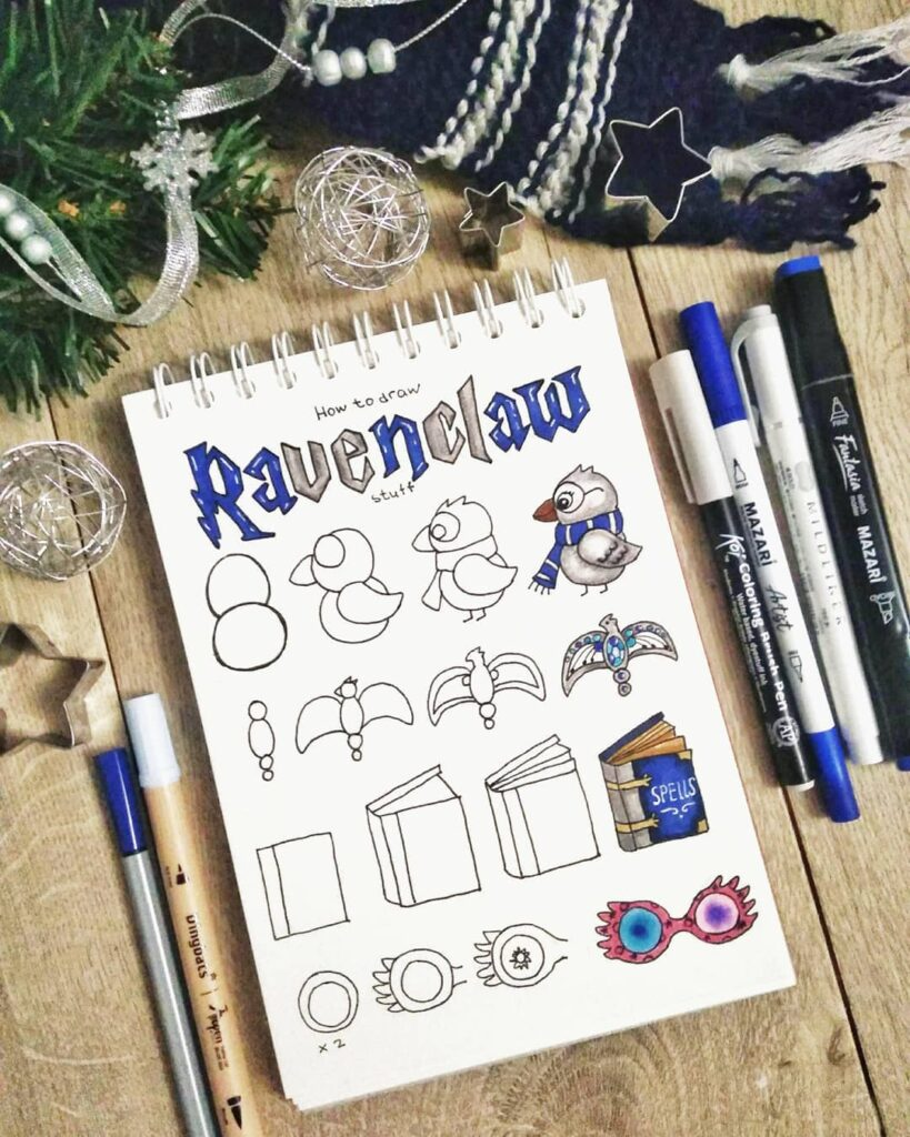 step-by-step Ravenclaw doodles