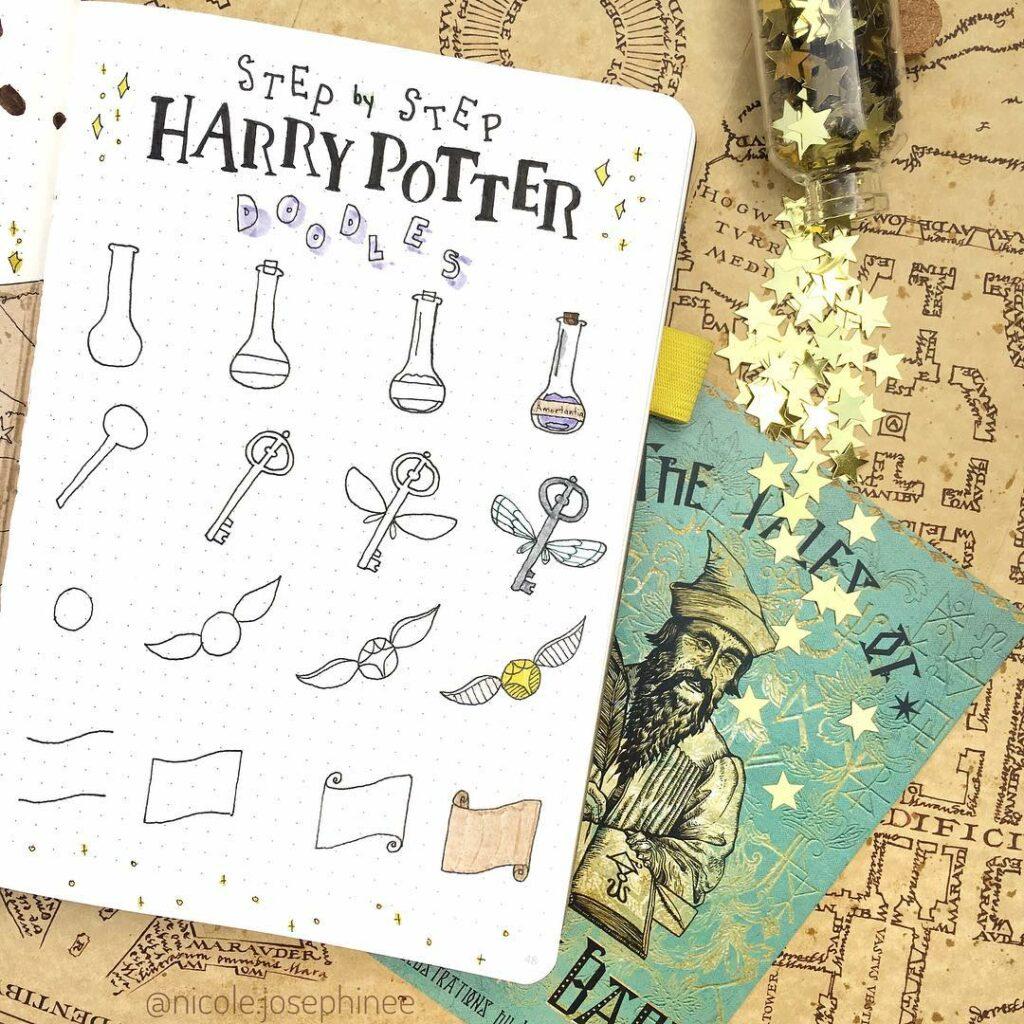 step-by-step Harry Potter doodles
