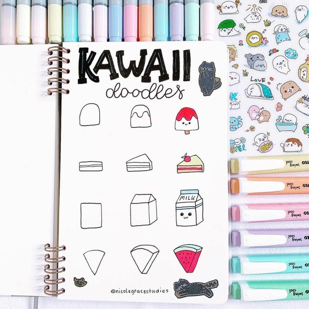 step-by-step kawaii food doodles