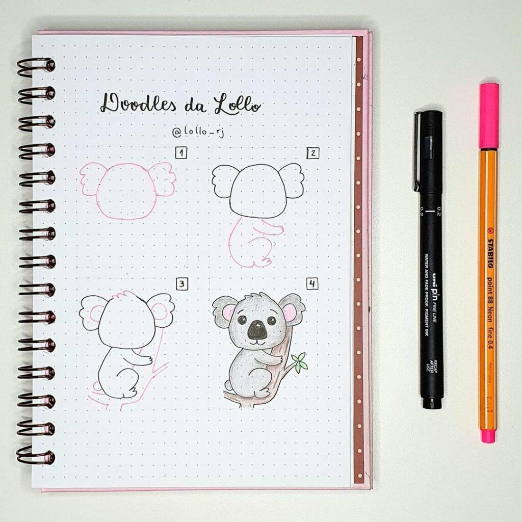 step-by-step koala doodles