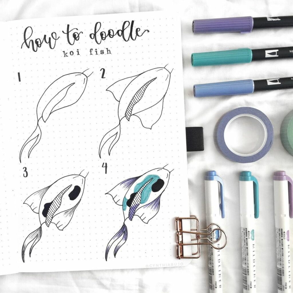 step-by-step koi fish doodles