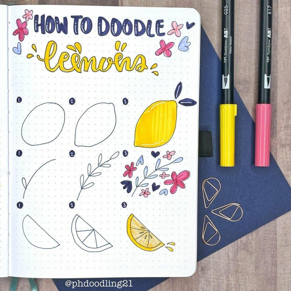 step-by-step lemon doodles