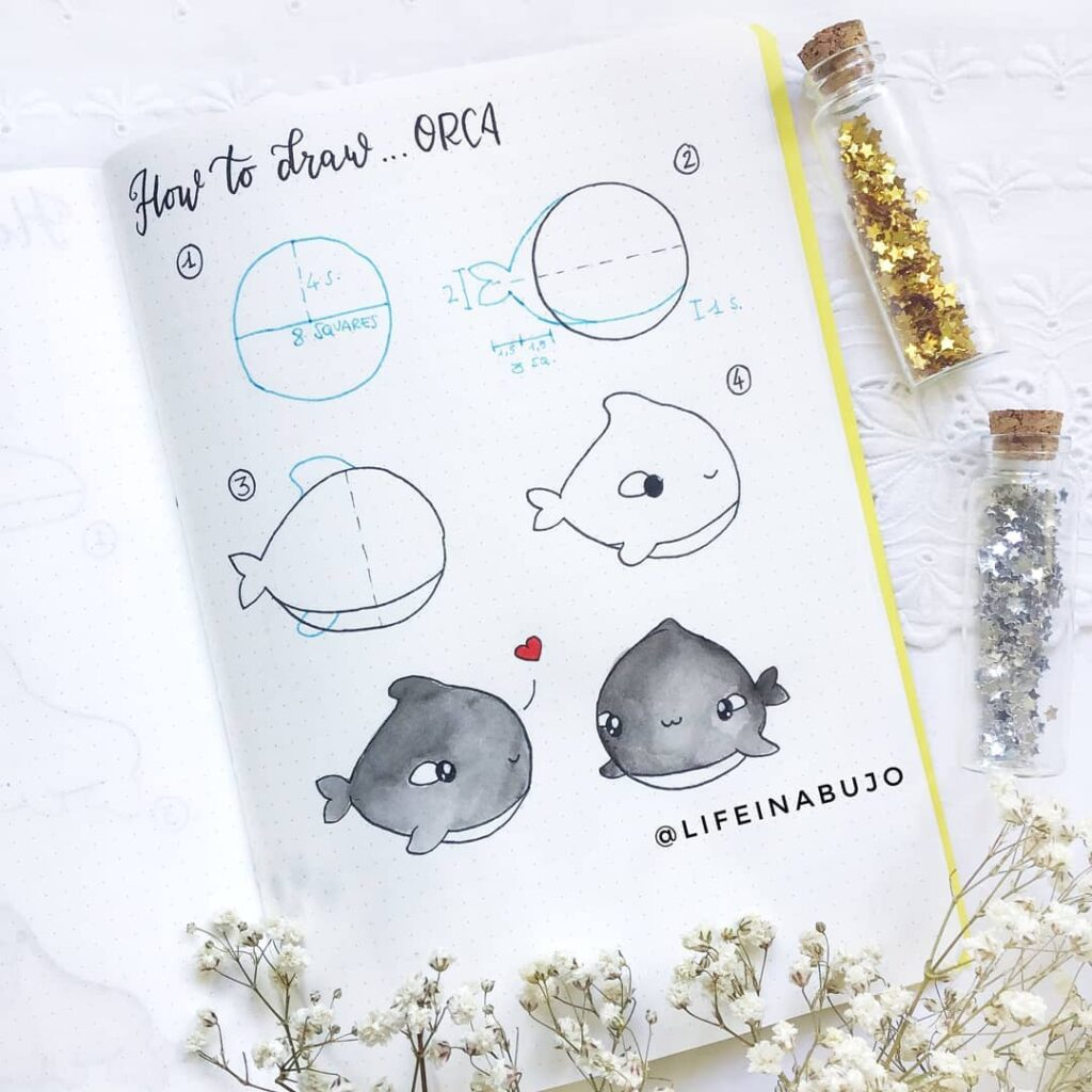 how to draw cute orca