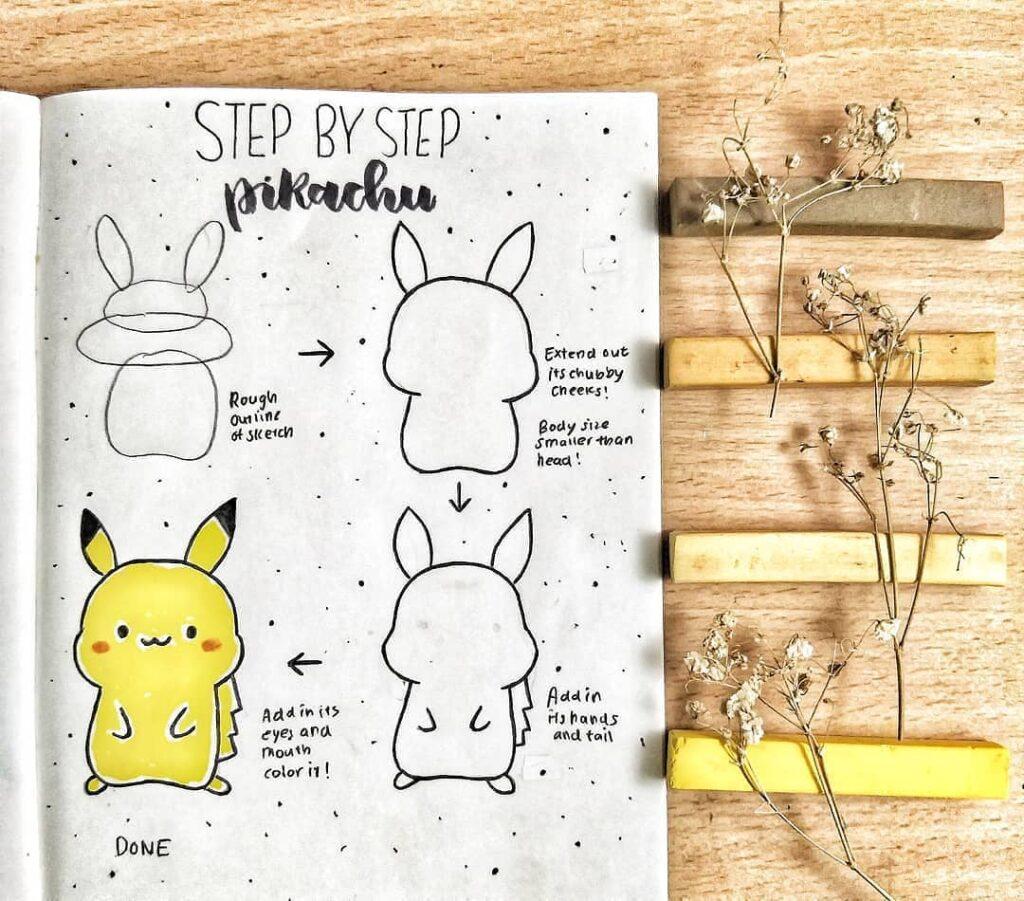 step-by-step Pikachu doodles