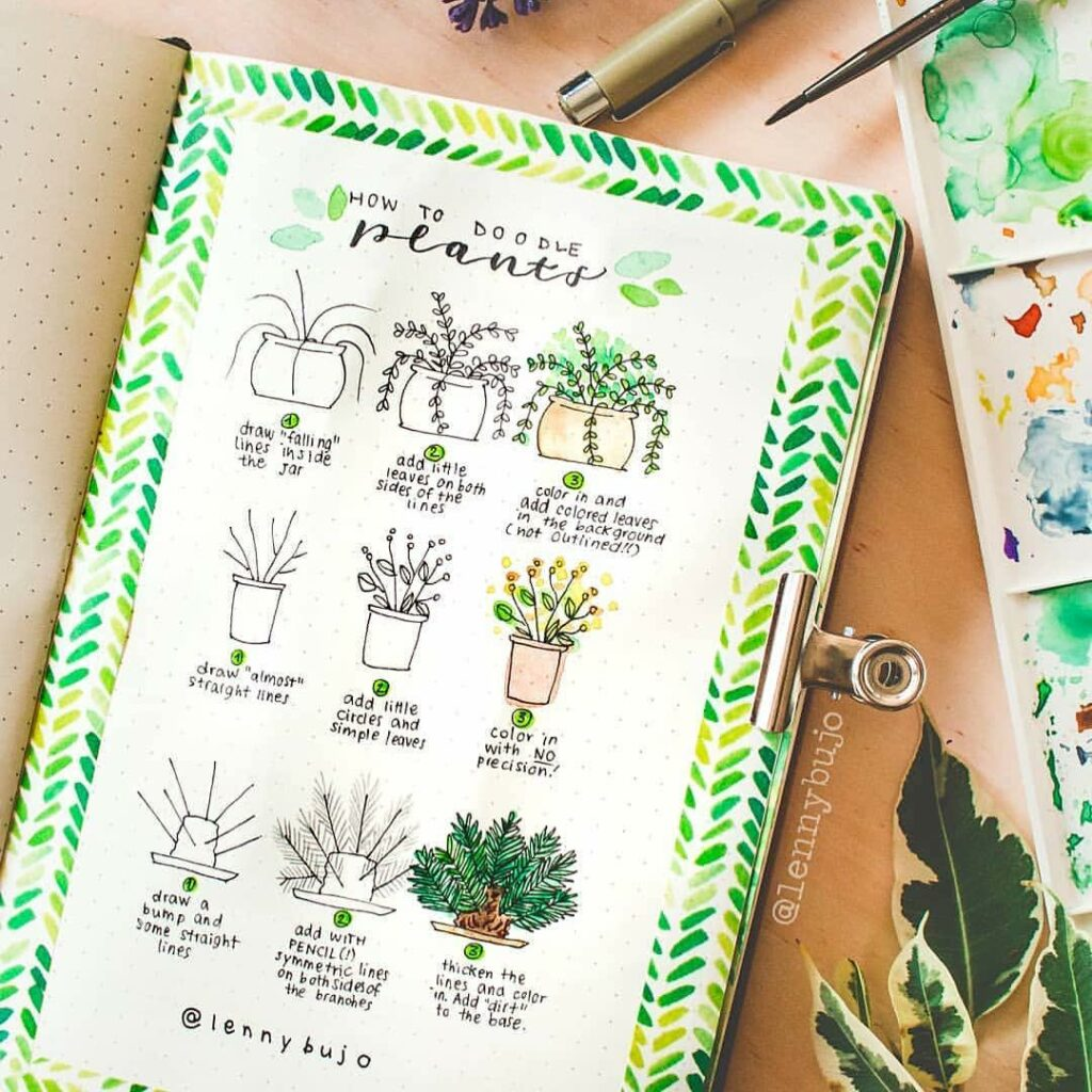 step-by-step houseplant doodles