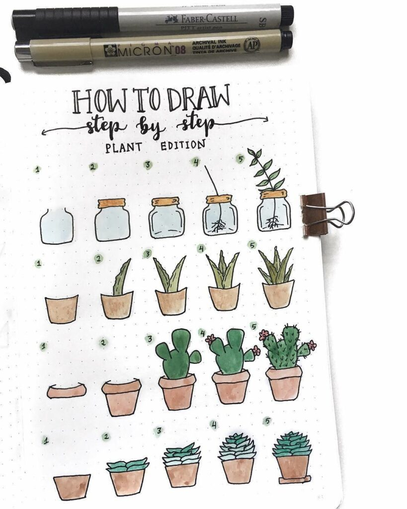 step-by-step potted plant doodles