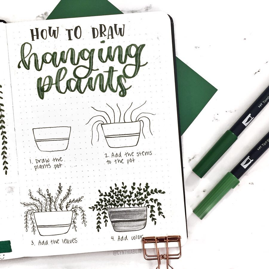 step-by-step hanging plant doodles