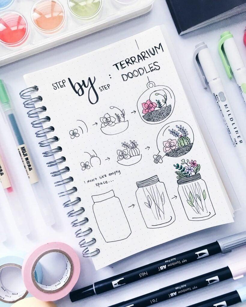 step-by-step terrarium doodles
