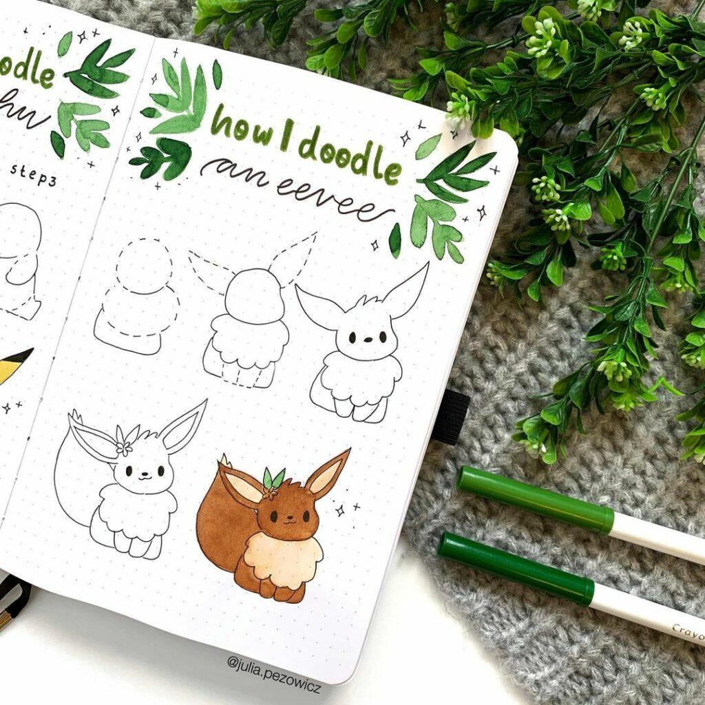 step-by-step Eevee doodles