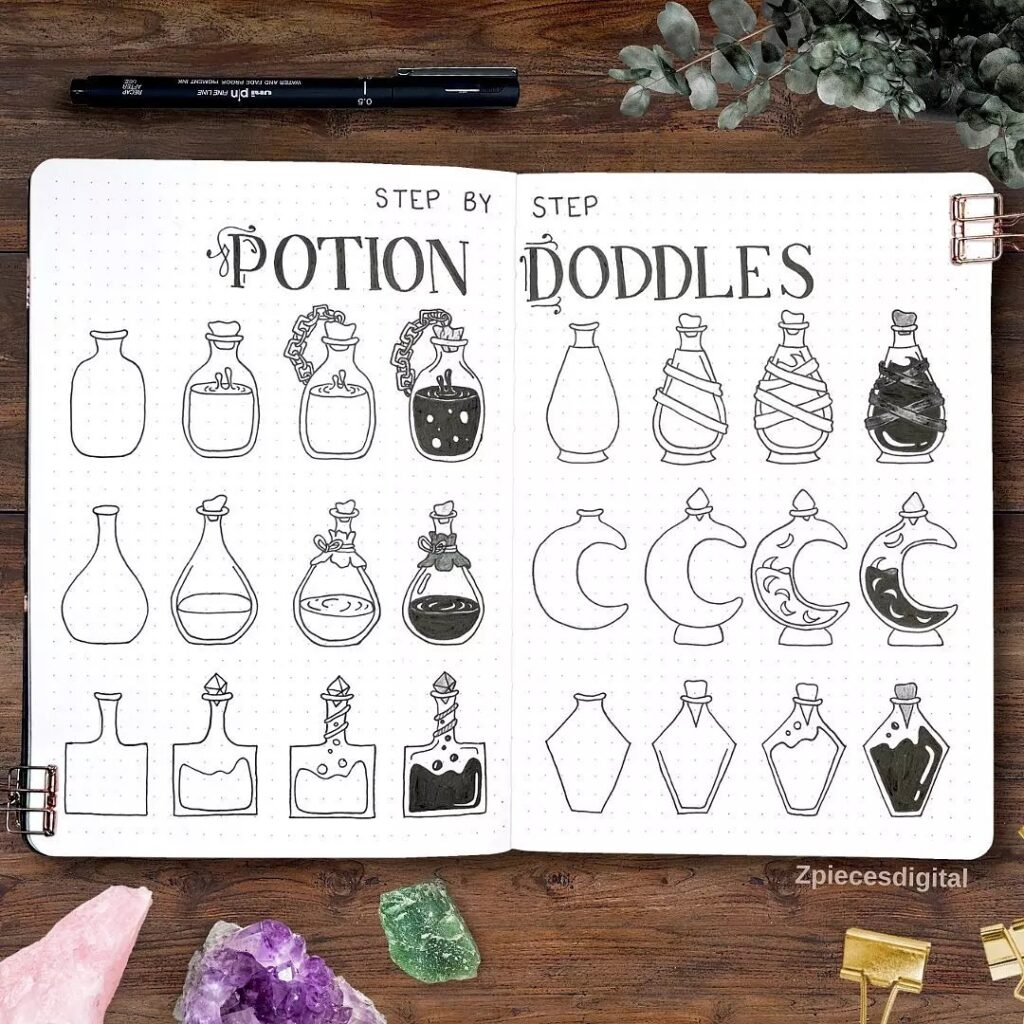 step-by-step potion doodles