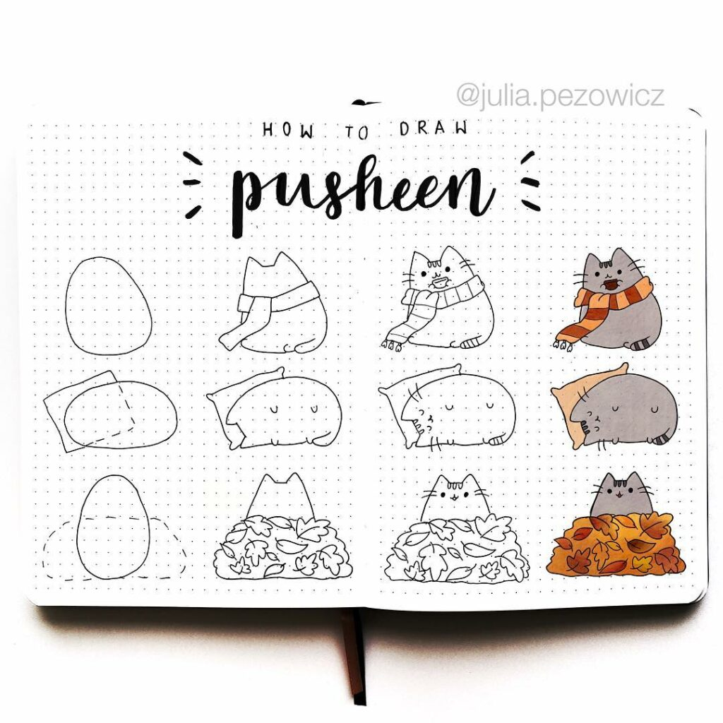 step-by-step Pusheen doodles