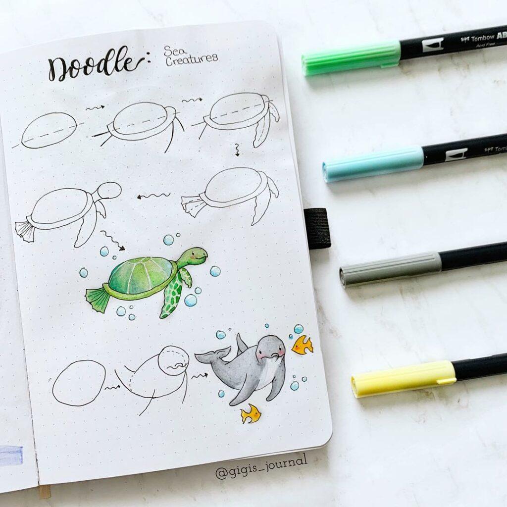step-by-step marine life doodles