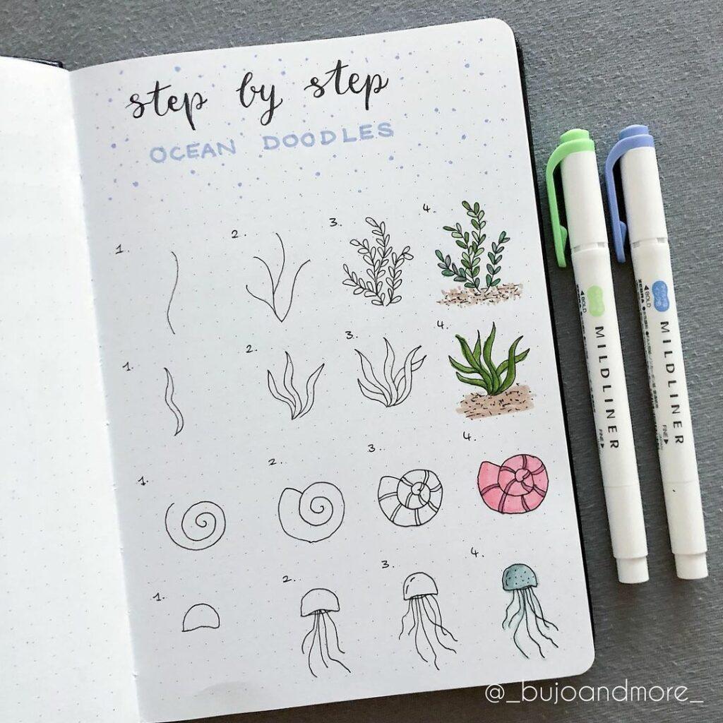step-by-step ocean doodles